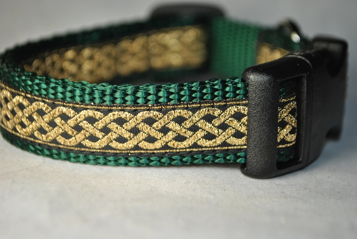 Celtic Knot Green And Gold 3 4 Quot Adjustable Dog Collar 15