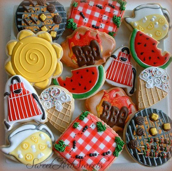 BBQ cookies - decorated cookies - 2 dozen summer BBQ grill cookies by SweetArtSweets, $90.00