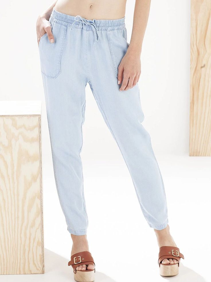Blue Light Wash Tie Waist Denim Harem Pants