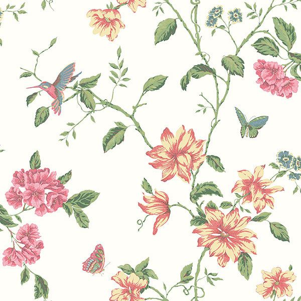 A beautiful Hummingbird and floral design from the English Florals Collection by Galerie - G34300 #galerie #homedecor #wallpaper #wallcovering #interior