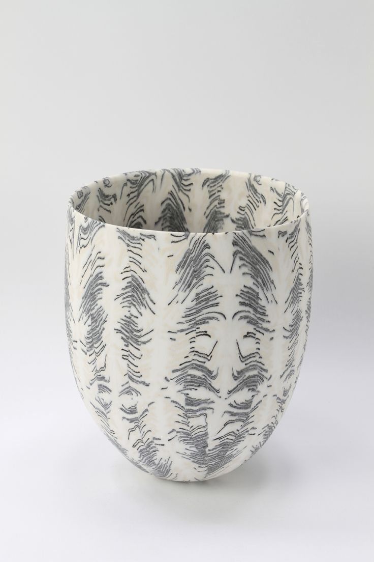 David Pottinger #25 Black, white & cream Nerikomi bowl 18.5x17cm