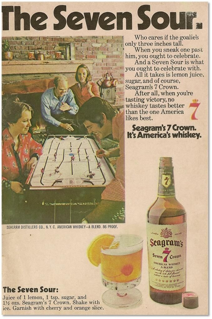 A vintage ad for Seagram's Seven, featuring the Seven Sour