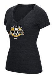 Pitt Penguins Womens Black 50th Anniversary V-Neck