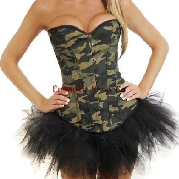 Army Girl Military Soldier Uniform Corset Top Skirt Costume Set Fancy Dress