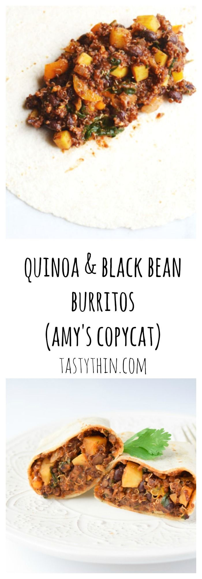 Copycat Amy's Vegan Quinoa Black Bean Burritos - Make ahead, freezable vegan burritos. Inexpensive to make and taste just like the original! | tastythin.com
