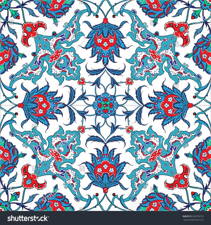 Turkish and Ottoman Empire's era traditional seamless ceramic tile, vector floral pattern