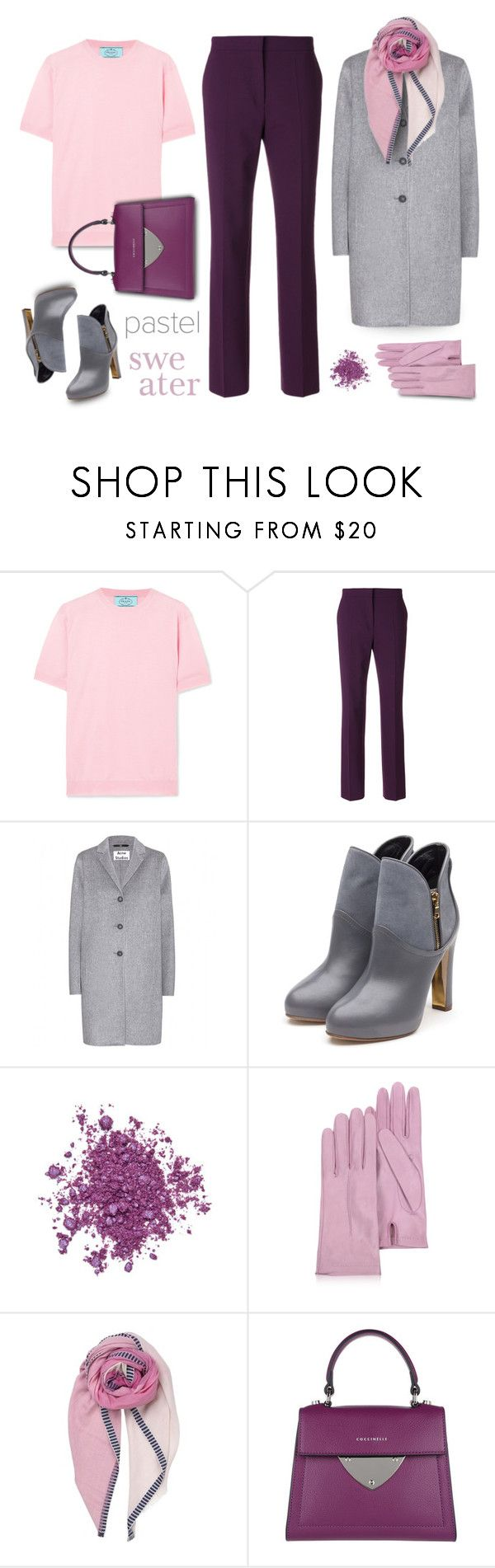 """Classy in pastel pink"" by muse-charming ❤ liked on Polyvore featuring Trilogy, Prada, Alberta Ferretti, Acne Studios, Rupert Sanderson, Urban Decay, Forzieri and Coccinelle"