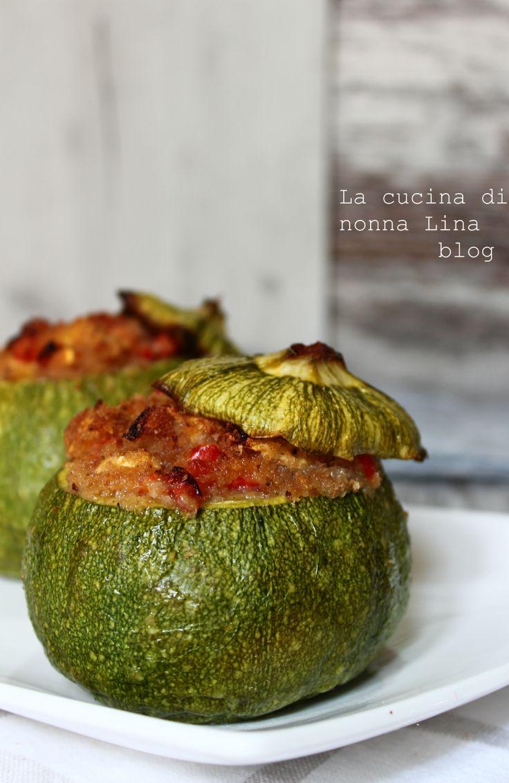 Zucchine tonde ripiene ricetta vegetariana | La cucina di nonna Lina