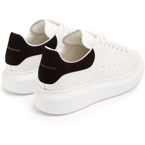 Alexander McQueen Raised-sole low-top leather trainers ($575) ❤ liked on Polyvore featuring shoes, sneakers, perforated shoes, low top, platform sneakers, perforated sneakers and low top platform sneakers