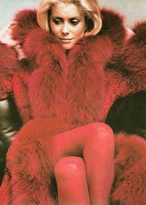 Catherine Deneuve in Yves Saint Laurent shot by Helmut Newton, 1971.