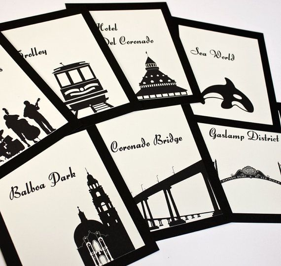 San Diego Table Numbers Wedding Decor Sign Custom Icons Landmarks Silhouette City California Icons