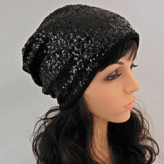 Black sparkle slouchy beanie Sequin hat women Beanie hat with lining ... 5ea958c2584