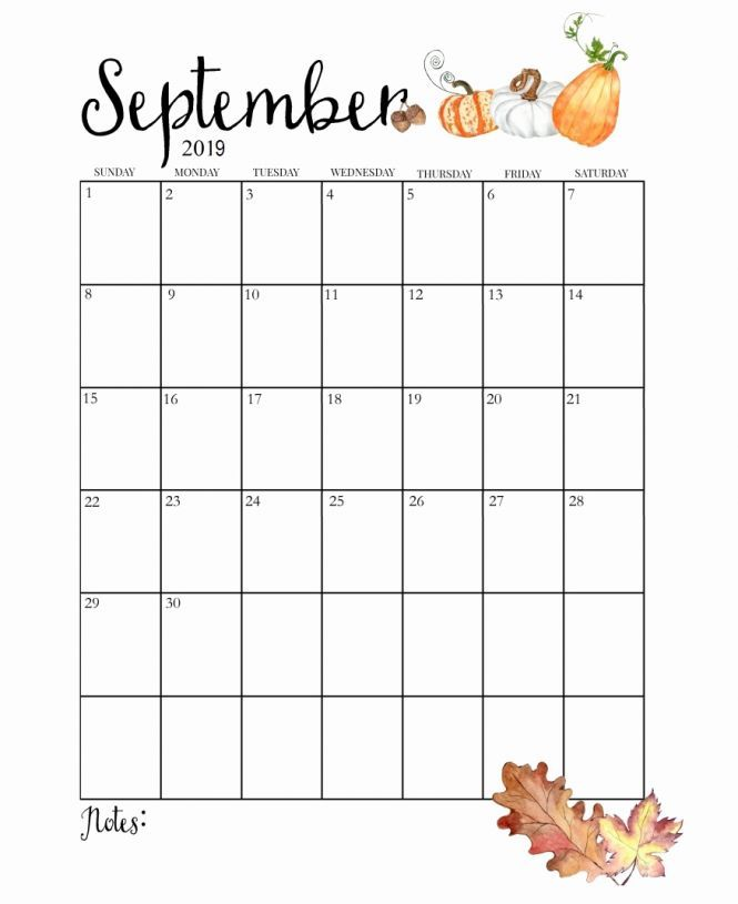 Monthly Calendar Templates For Septeber To December 2019 Cute September 2019 Calendar Printable | 2019 Calendars