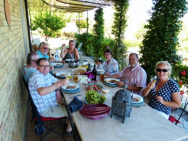 Enjoying lunch after a swim in the pool at Casa Montalto Villa
