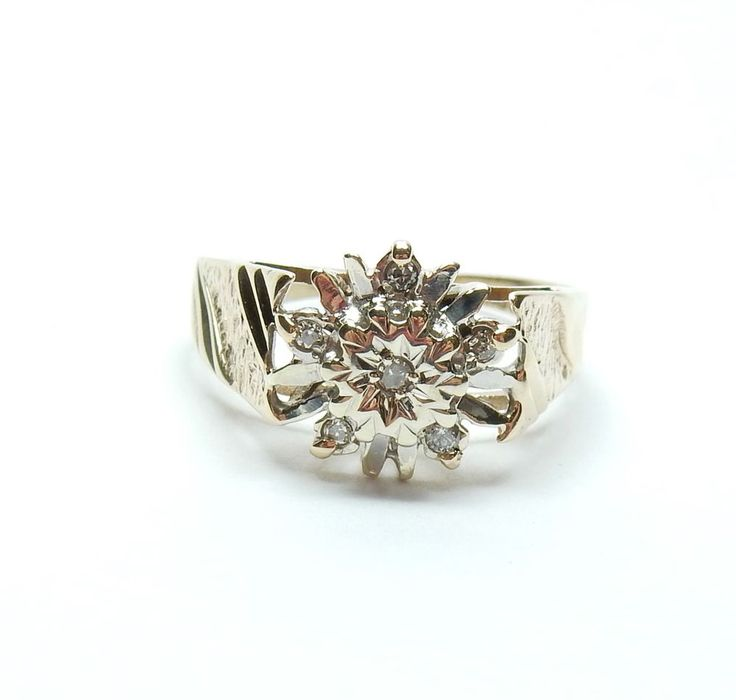 Vintage Sheffield 1978 9 Carat Yellow Gold Diamond Snowflake Cluster Ring 2.7g #Cluster