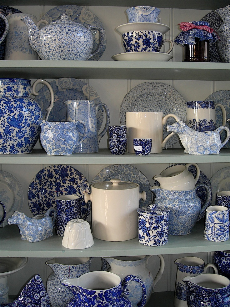 Display of transfer ware at Burleigh pottery, Burslem, Stoke on Trent.