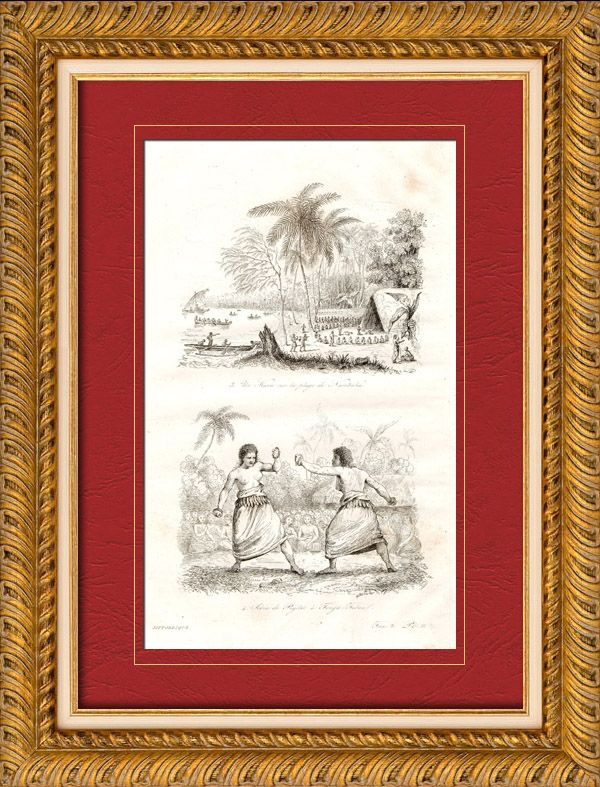 Tonga Islands - Kava on Namuka Bay - Scene of pugilism - Boxer - Wrestler Original steel engraving. Anonymous. 1835