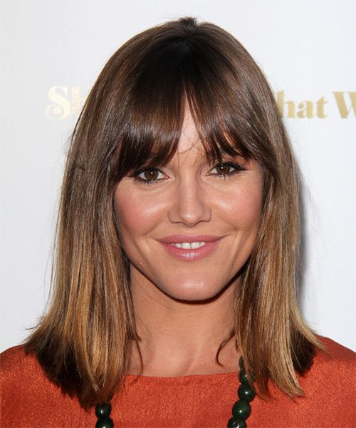 Mid-length straight hair with bangs