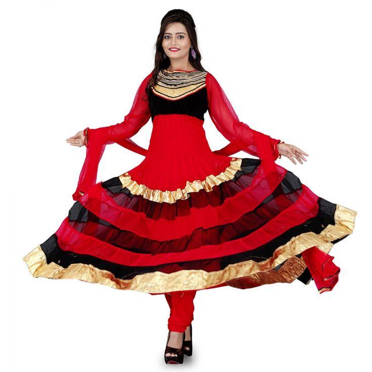Fashionx red net anarkali unstitched dress material