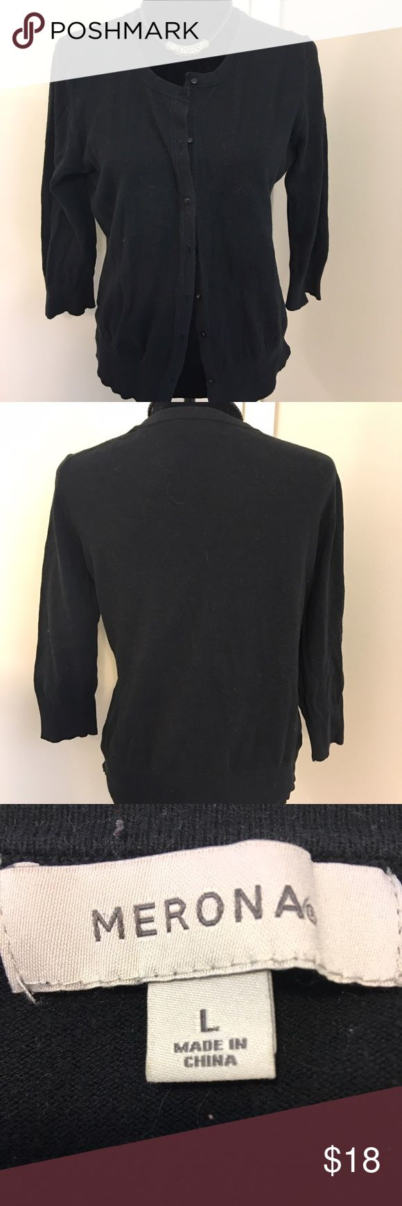 Merona black button up cardigan🎈FLASHSALE🎈 Merona black button up cardigan- tiny black buttons make this look very feminine. EUC. Merona Sweaters Cardigans