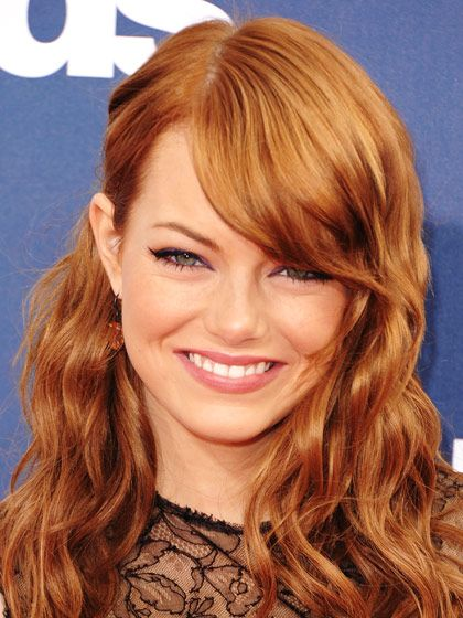 Emma Stone's sweet and side-swept bangs   allure.com