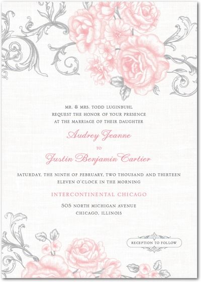 Grey and Pink invitations Signature White Textured Wedding Invitations - Antique Rose Scrolls by Wedding Paper Divas