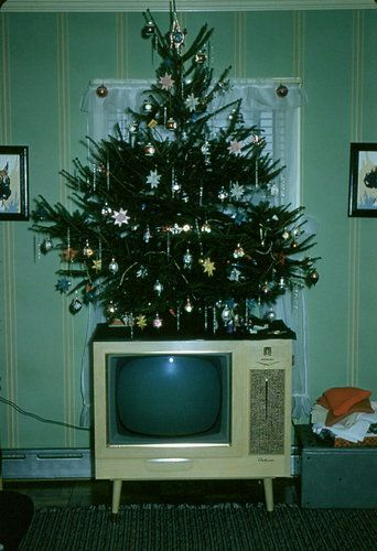 Christmas tree on the TV, 1950s.