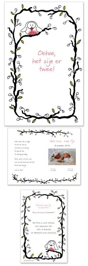 Geboortekaartje met een uiltje, speciaal ontworpen voor Lune en Veer!