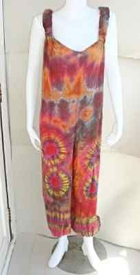 Womens Tie Dye Hippy Boho Festival Jumpsuit Harem Baggy Dungarees Pants Genie