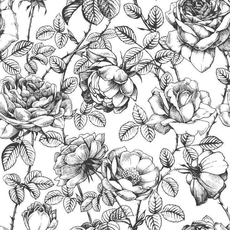 28 best floral print black white images on pinterest floral 001 floral print black white mightylinksfo Image collections