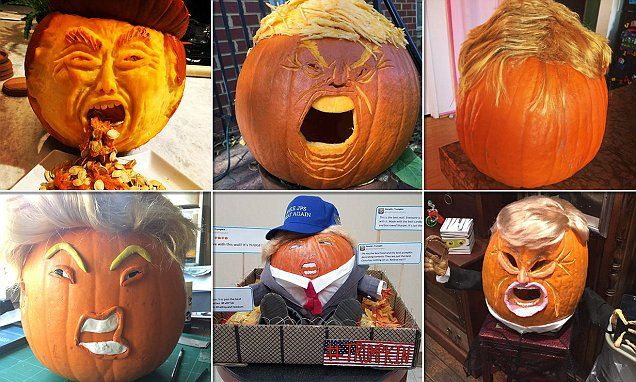 People celebrate Halloween with 'scary' TRUMPKIN Jack-o-Lanterns