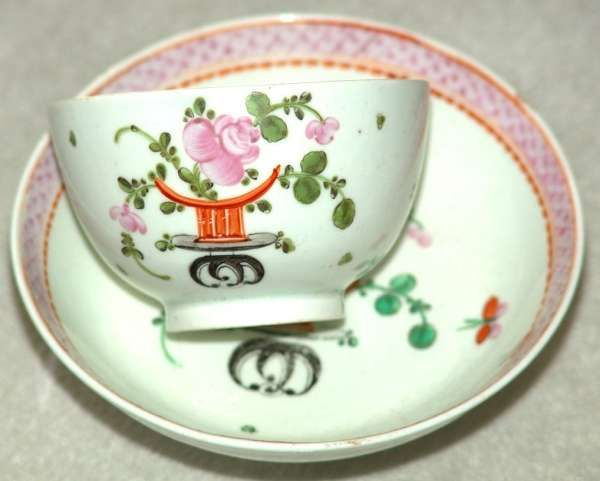 18th Century Lowestoft Porcelain Polychrome Tea Bowl and Saucer in the Scarce 'Top Hat' Pattern c.1785 - c.1790  £345