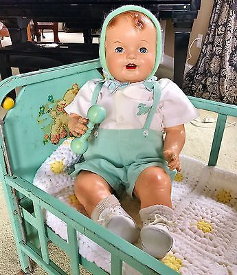 """1930's Darling Huge 28"""" Big Happy Chubby Composition Smiling Baby Boy Doll"""
