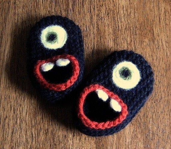 Wool Monster Slippers size 3 6 or 12 months by HandKnitHugs