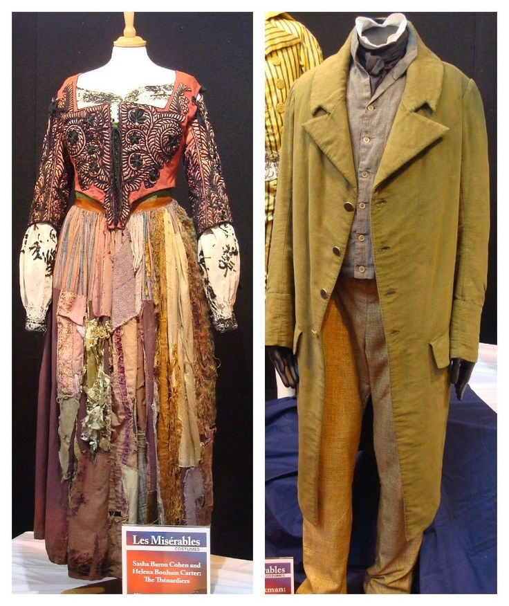 costumes from the film version of 'Les Miserables'. Costumes worn by Helena Bonham Carter (the Thenardiers) and Hugh Jackson (Jean Valjean)