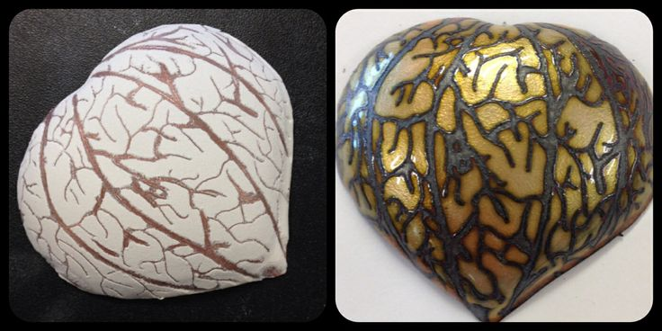 Before and after the firing process of enamelling :)