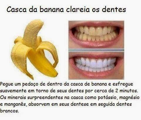 """banana clareia os dentes! O texto diz exatamente assim: """"Pegue um pedaço de dentro da casca de banana e esfregue suavemente em torno dos seus dentes por cer ..."""