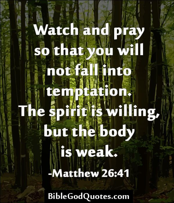 ✞ ✟ BibleGodQuotes.com ✟ ✞  Watch and pray so that you will not fall into temptation. The spirit is willing, but the body is weak. -Matthew 26:41
