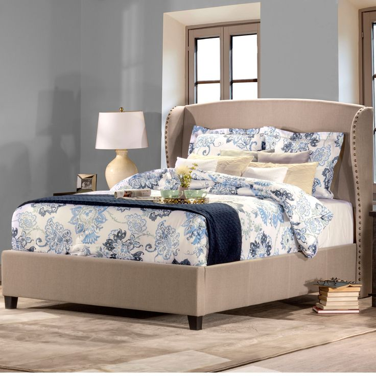 lisa light taupe upholstered wingback queen king bed frame with rails by hillsdale upholstered beds home goods