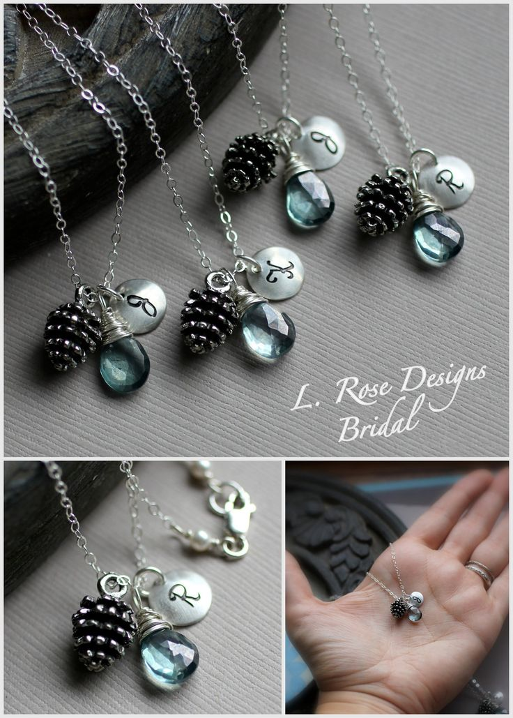 Bridesmaid Necklace for Winter Wedding by LRoseDesigns.  PineconeJunkie.com loves these!