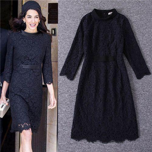2017 Autumn Fashion Brand Black Lace Dresses Women Round Neck Three Quarter Sleeves Vintage Wine Red Lace Dresses Vestidos