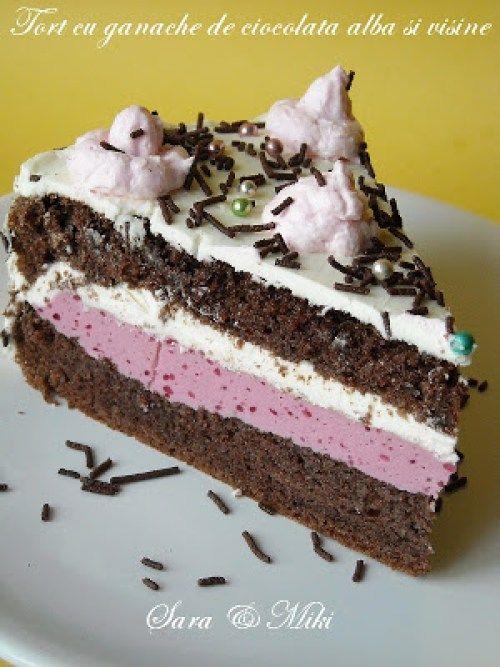» Tort cu ganache de ciocolata alba si visineCulorile din Farfurie