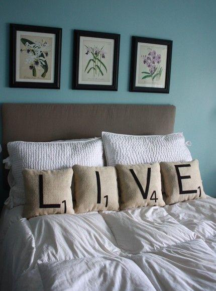 Great Scrabble tile pillows