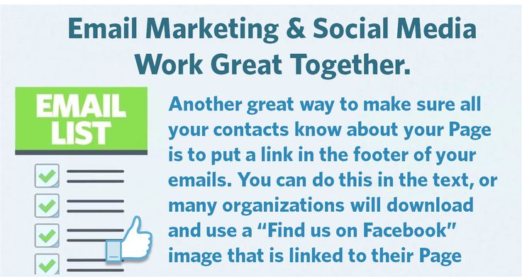 Use your email marketing to grow your Facebook page by linking to it in your email footer or by adding clickable images/buttons.