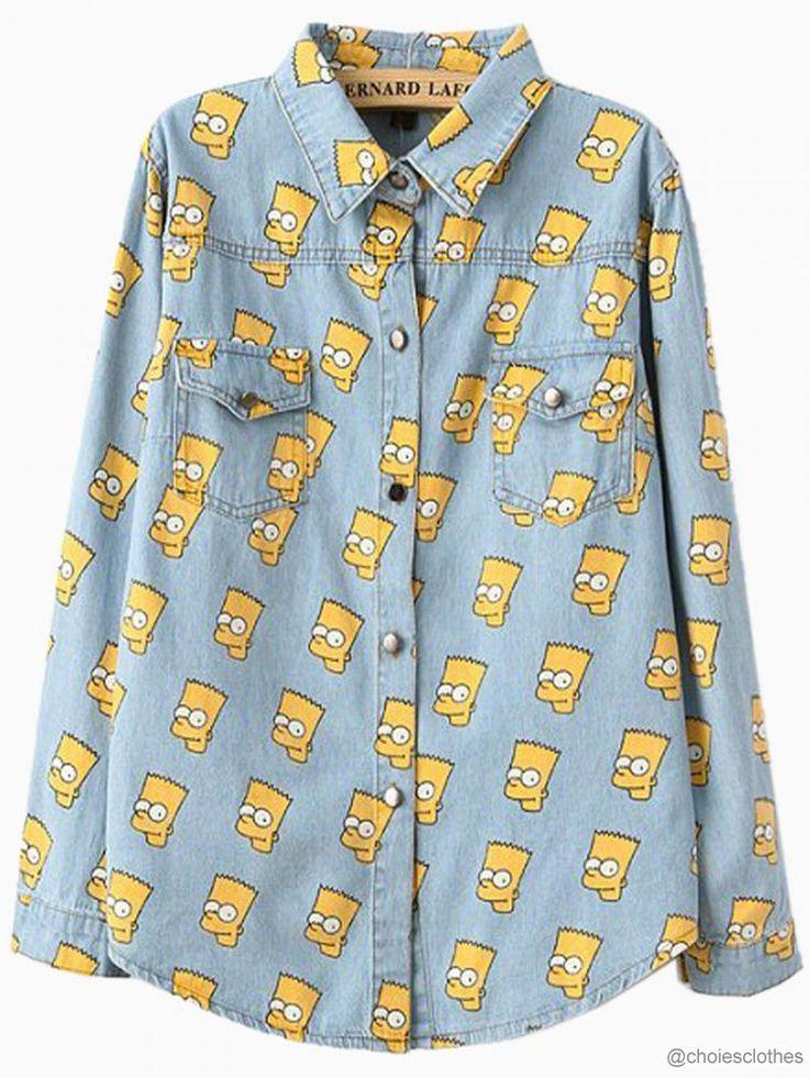 choiesclothes:  Choies Simpson Print Denim Shirt choiesclothes