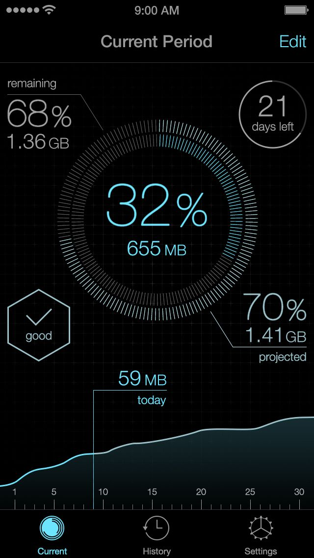 iOS 7 Data Usage #App by Raven Yu #interface #UI #flat