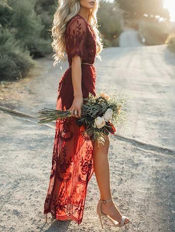 Ecstatic Burning Lace Floral Print Maxi Ruby Dress