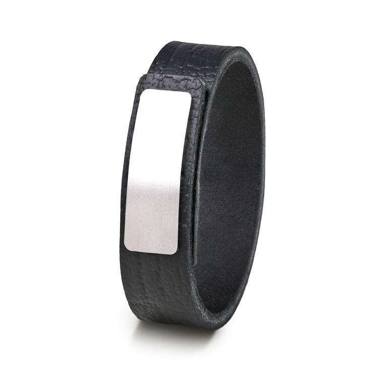 Wear Clint - Tuigleren armband (18mm / zwart krakelee) met RVS-sluiting. Een stoer design voor mannen en vrouwen!