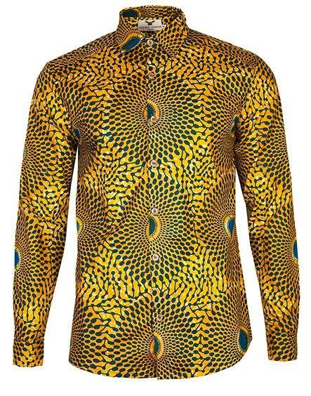 www.cewax aime les vêtements hommes ethniques, Afro tendance, Ethno tribal Men's fashion, african prints fashion - AFRICAN PRINT SHIRT OHEMA OHENE
