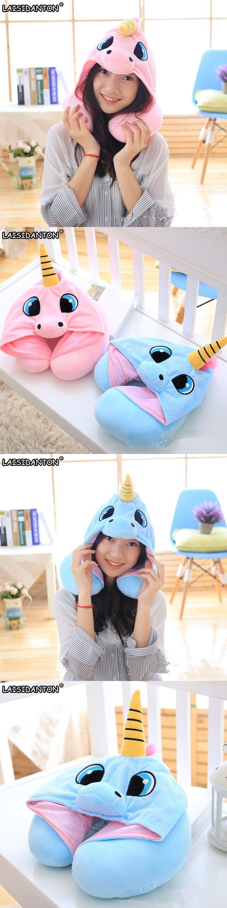 af3b8b2accc LAISIDANTON Women s Hat Creative U Shaped Neck Pillow With Hat Neck Pillow  Cute Cartoon Unicorn Hats